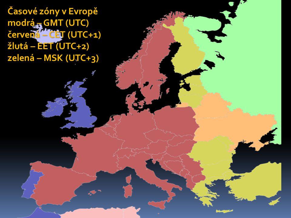 Časové zóny v Evropě modrá – GMT (UTC) červená – CET (UTC+1) žlutá – EET (UTC+2) zelená – MSK (UTC+3)