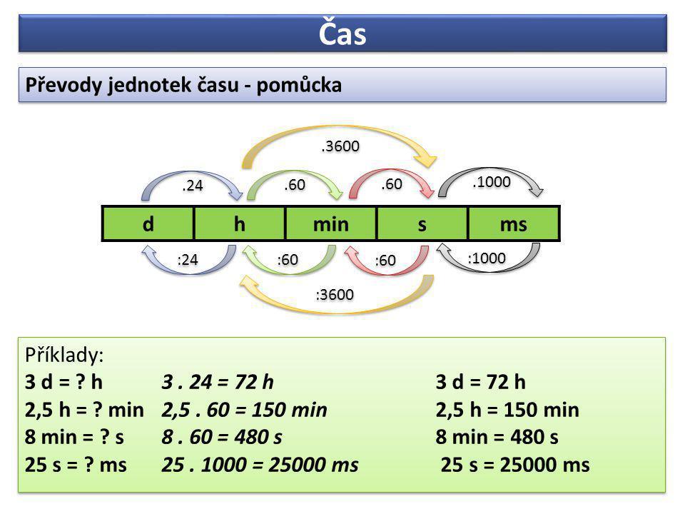 Čas Převody jednotek času - pomůcka Převody jednotek času - pomůcka Příklady: 3 d = .