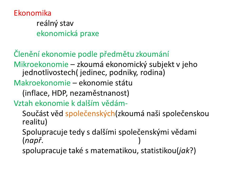 Ekonomika reálný stav ekonomická praxe Členění ekonomie podle předmětu zkoumání Mikroekonomie – zkoumá ekonomický subjekt v jeho jednotlivostech( jedinec, podniky, rodina) Makroekonomie – ekonomie státu (inflace, HDP, nezaměstnanost) Vztah ekonomie k dalším vědám- Součást věd společenských(zkoumá naši společenskou realitu) Spolupracuje tedy s dalšími společenskými vědami (např.