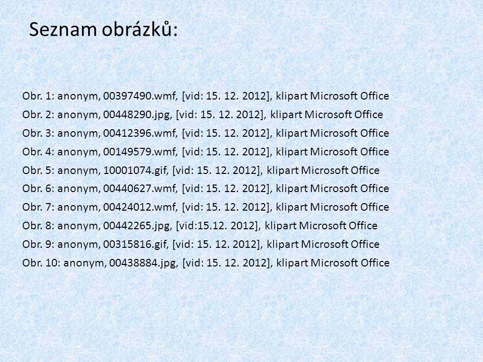 Seznam obrázků: Obr. 1: anonym, 00397490.wmf, [vid: 15. 12. 2012], klipart Microsoft Office Obr. 2: anonym, 00448290.jpg, [vid: 15. 12. 2012], klipart