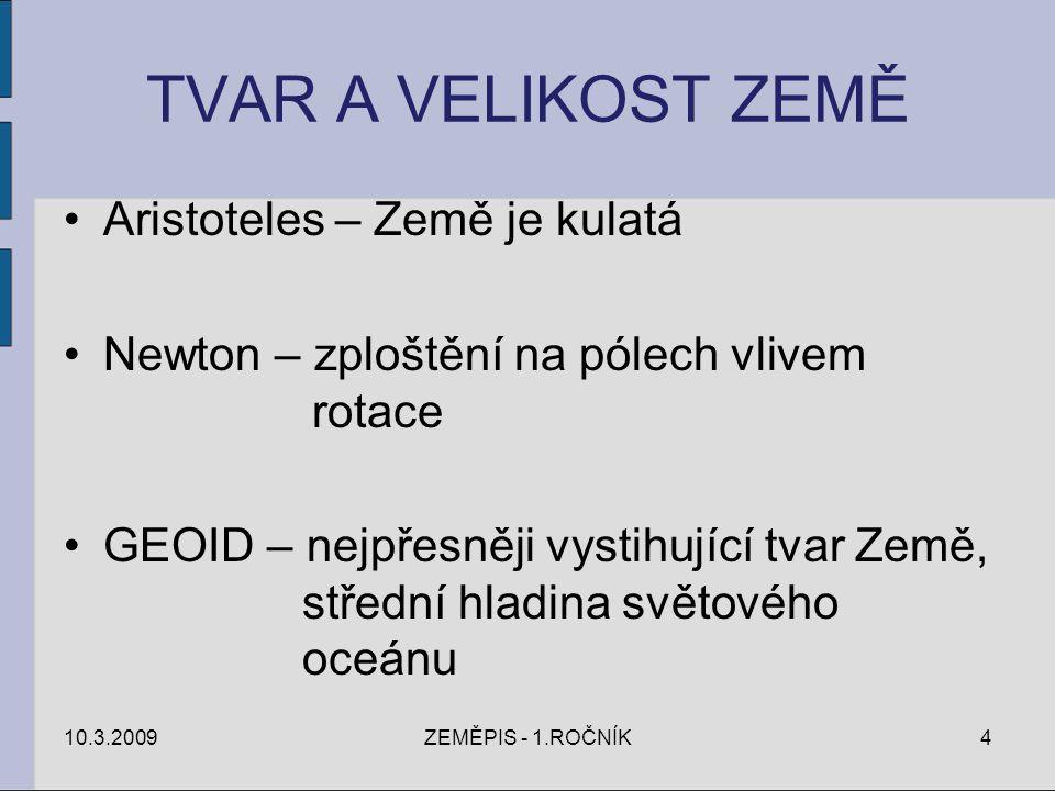 TVAR A VELIKOST ZEMĚ Aristoteles – Země je kulatá Newton – zploštění na pólech vlivem rotace GEOID – nejpřesněji vystihující tvar Země, střední hladin