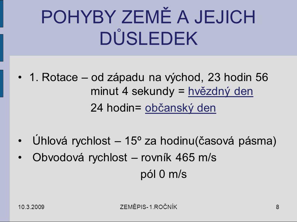 POHYBY ZEMĚ A JEJICH DŮSLEDEK 1. Rotace – od západu na východ, 23 hodin 56 minut 4 sekundy = hvězdný den 24 hodin= občanský den Úhlová rychlost – 15º