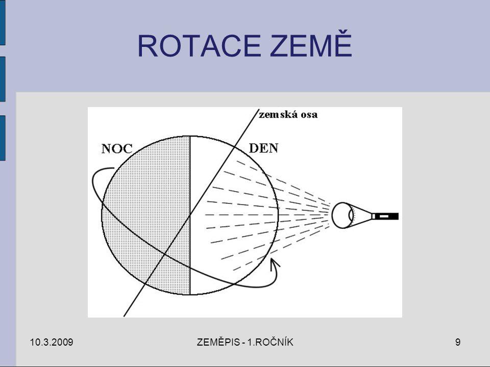 ROTACE ZEMĚ 10.3.2009ZEMĚPIS - 1.ROČNÍK9