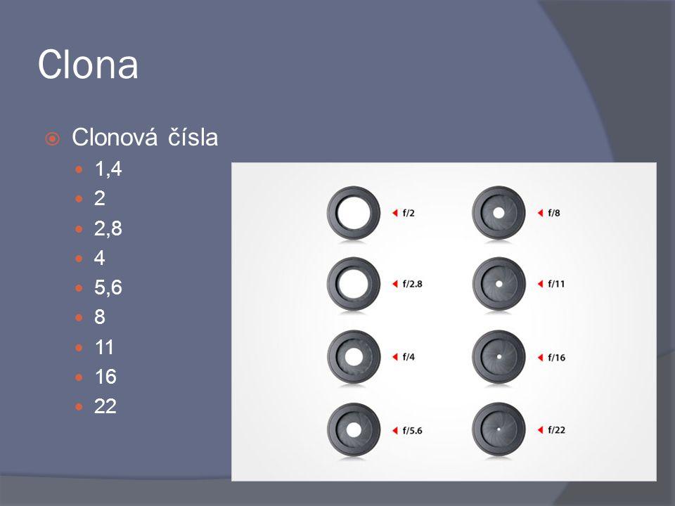  Clonová čísla 1,4 2 2,8 4 5,6 8 11 16 22