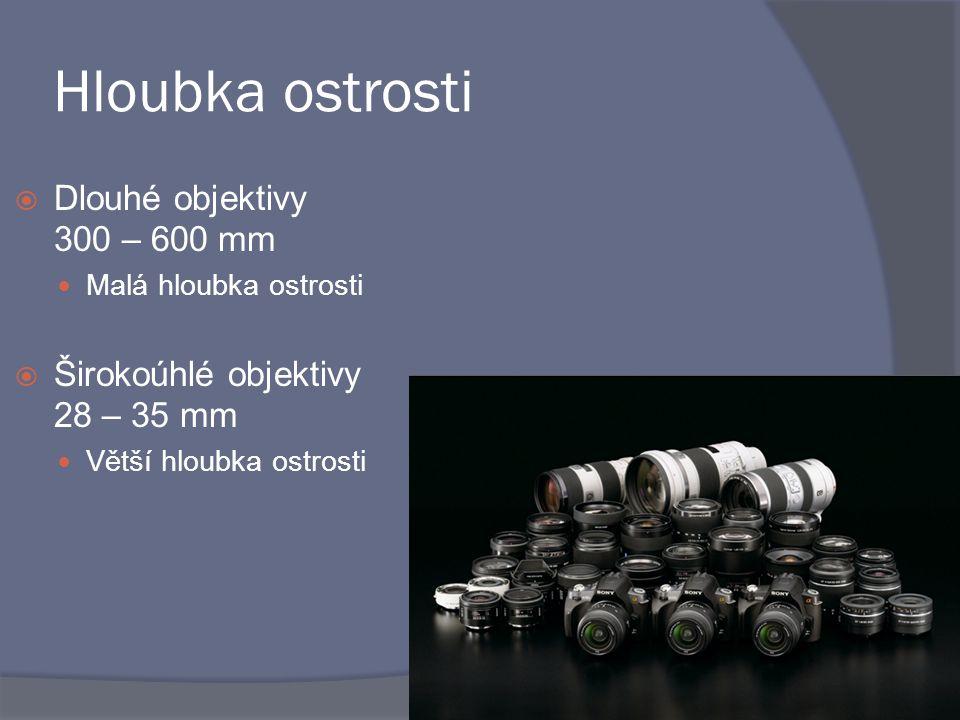 Hloubka ostrosti  Dlouhé objektivy 300 – 600 mm Malá hloubka ostrosti  Širokoúhlé objektivy 28 – 35 mm Větší hloubka ostrosti
