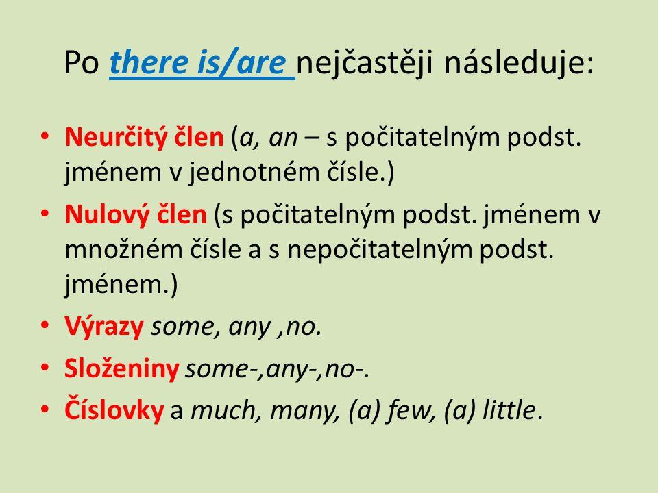 Po there is/are nejčastěji následuje: Neurčitý člen (a, an – s počitatelným podst.