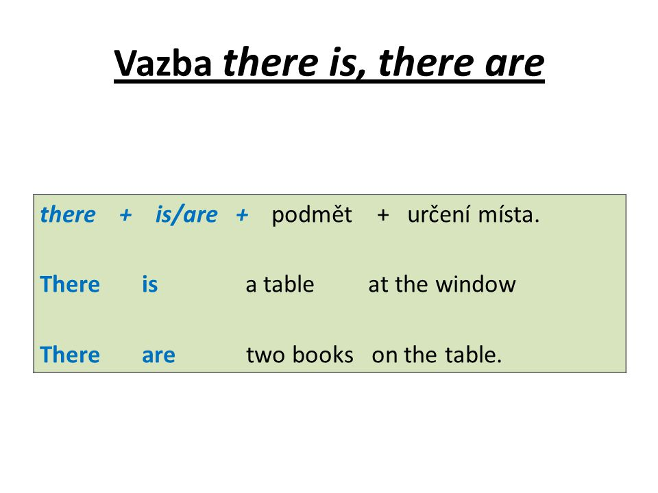 Vazba there is, there are there + is/are + podmět + určení místa. There is a table at the window There are two books on the table.