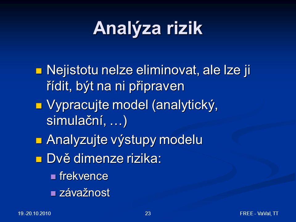 Analýza rizik Nejistotu nelze eliminovat, ale lze ji řídit, být na ni připraven Nejistotu nelze eliminovat, ale lze ji řídit, být na ni připraven Vypr