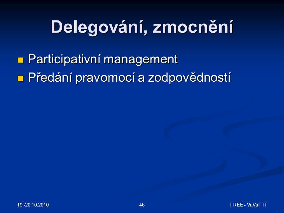 Delegování, zmocnění Participativní management Participativní management Předání pravomocí a zodpovědností Předání pravomocí a zodpovědností 19.-20.10