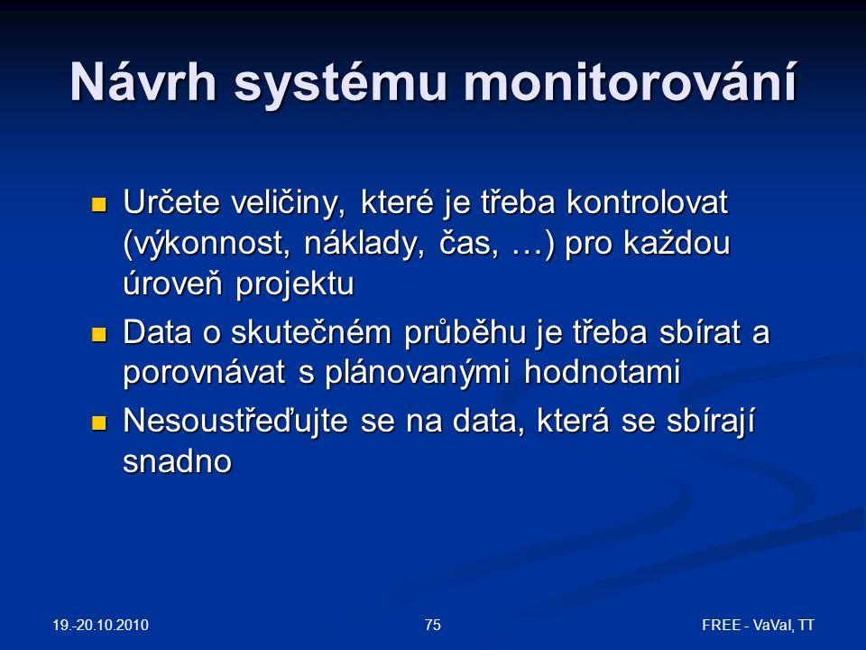 Návrh systému monitorování Určete veličiny, které je třeba kontrolovat (výkonnost, náklady, čas, …) pro každou úroveň projektu Určete veličiny, které