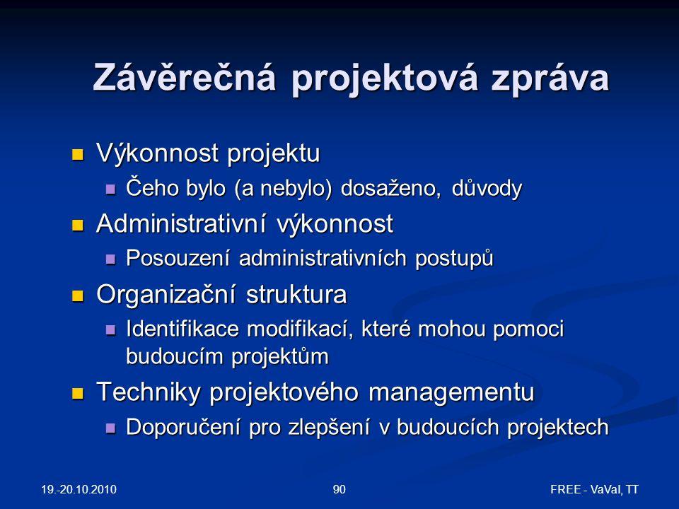 Závěrečná projektová zpráva Výkonnost projektu Výkonnost projektu Čeho bylo (a nebylo) dosaženo, důvody Čeho bylo (a nebylo) dosaženo, důvody Administ