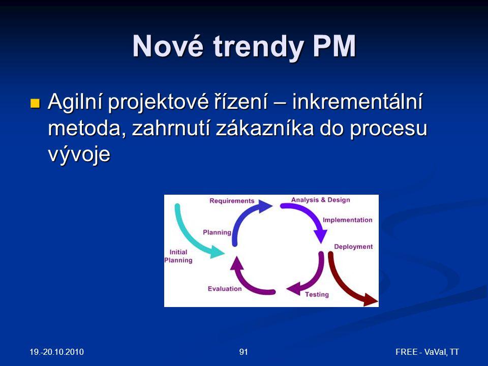 Nové trendy PM Agilní projektové řízení – inkrementální metoda, zahrnutí zákazníka do procesu vývoje Agilní projektové řízení – inkrementální metoda,