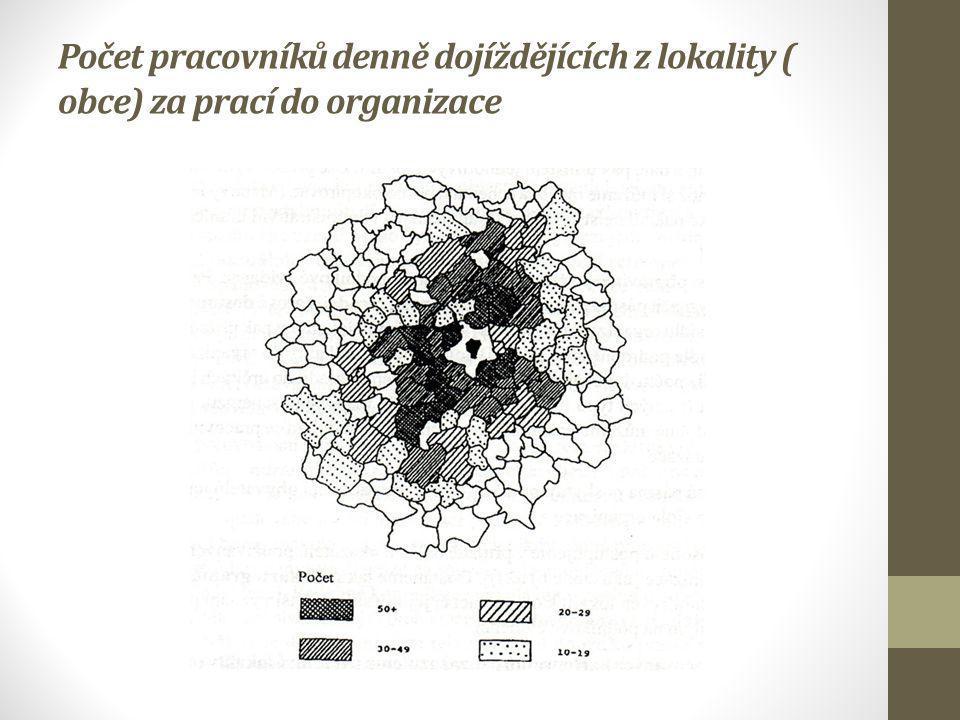 Počet pracovníků denně dojíždějících z lokality ( obce) za prací do organizace
