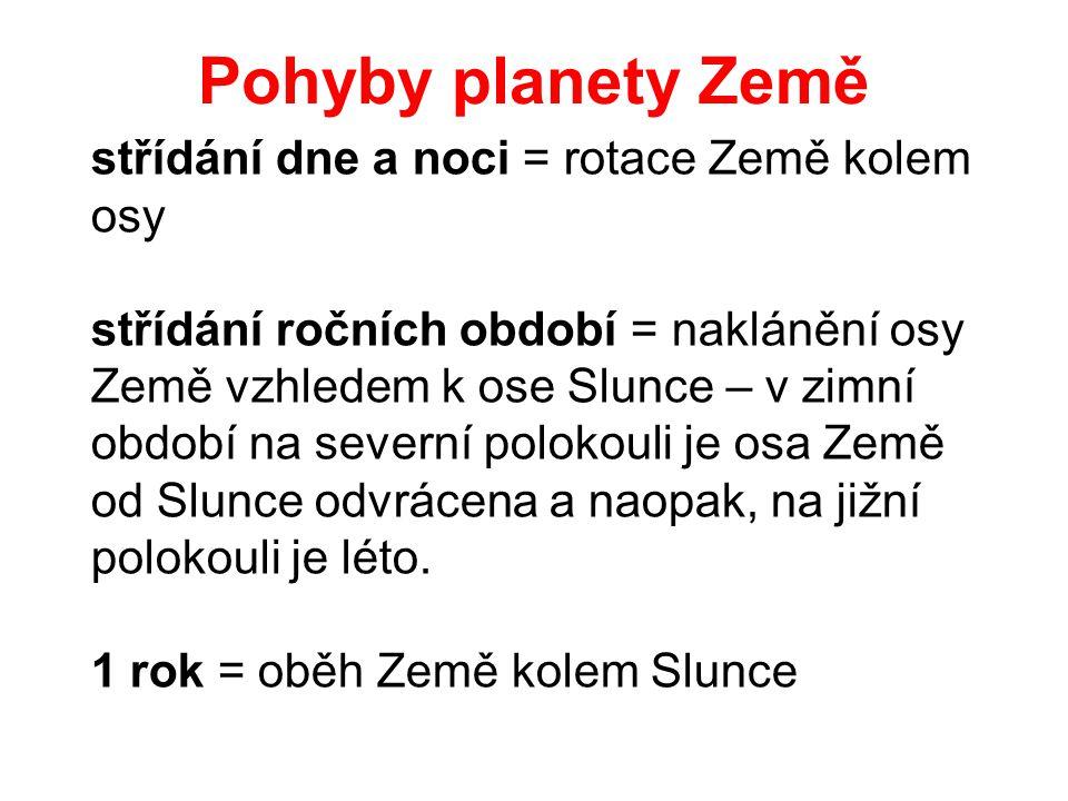 Pohyby planety Země 1 rok =ob ě h Zem ě kolem Slunce st ří d á n í dne a noci = rotace Zem ě kolem osy st ří d á n í ro č n í ch obdob í =nakl á n ě n