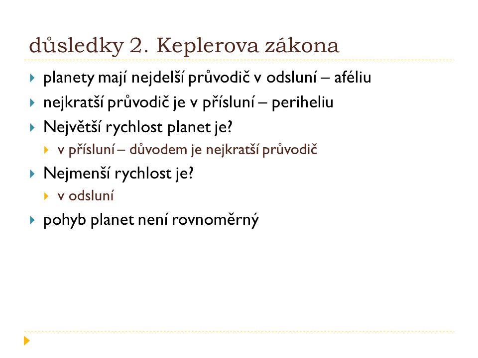 důsledky 2. Keplerova zákona  planety mají nejdelší průvodič v odsluní – aféliu  nejkratší průvodič je v přísluní – periheliu  Největší rychlost pl