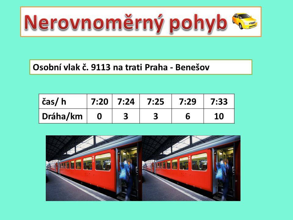 Osobní vlak č. 9113 na trati Praha - Benešov čas/ h7:207:247:257:297:33 Dráha/km033610