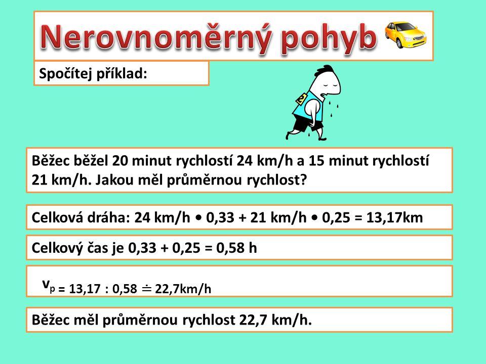 Spočítej příklad: Běžec běžel 20 minut rychlostí 24 km/h a 15 minut rychlostí 21 km/h.