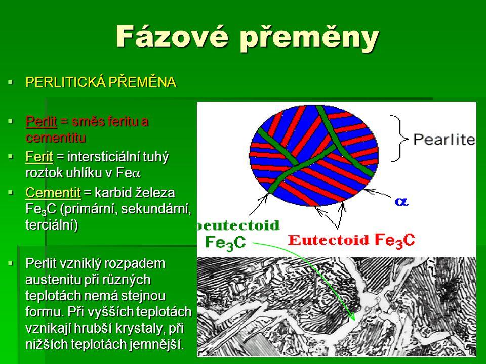 Fázové přeměny  PERLITICKÁ PŘEMĚNA  Perlit = směs feritu a cementitu  Ferit = intersticiální tuhý roztok uhlíku v Fe   Cementit = karbid železa Fe 3 C (primární, sekundární, terciální)  Perlit vzniklý rozpadem austenitu při různých teplotách nemá stejnou formu.