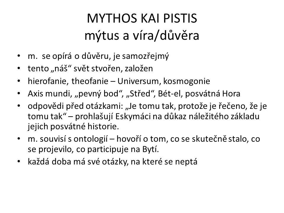 """MYTHOS KAI PISTIS mýtus a víra/důvěra m. se opírá o důvěru, je samozřejmý tento """"náš"""" svět stvořen, založen hierofanie, theofanie – Universum, kosmogo"""