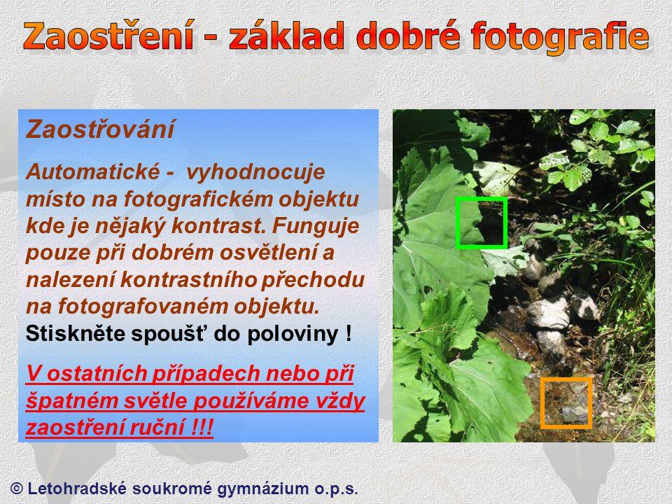 © Letohradské soukromé gymnázium o.p.s. Zaostřování 1) Každý máme jinak velkou ruku.