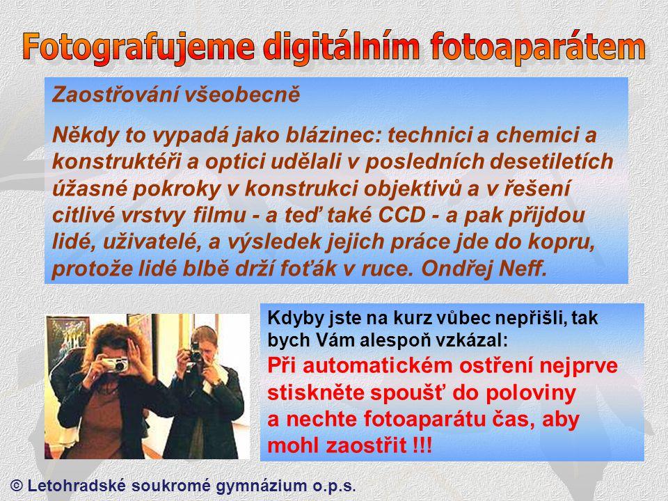 © Letohradské soukromé gymnázium o.p.s.Proč nemusíme používat osvitoměry ?.
