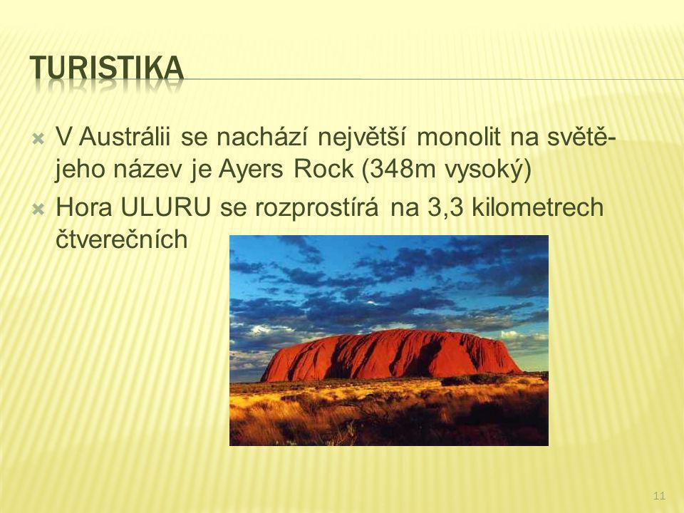  V Austrálii se nachází největší monolit na světě- jeho název je Ayers Rock (348m vysoký)  Hora ULURU se rozprostírá na 3,3 kilometrech čtverečních
