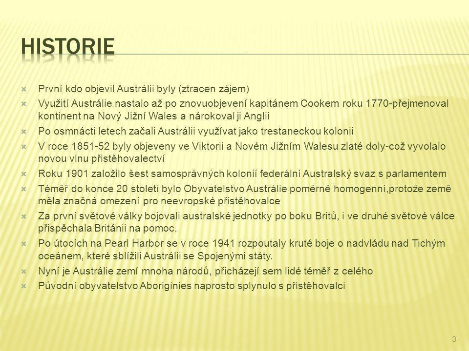  První kdo objevil Austrálii byly (ztracen zájem)  Využití Austrálie nastalo až po znovuobjevení kapitánem Cookem roku 1770-přejmenoval kontinent na