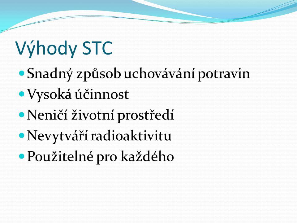 Výhody STC Snadný způsob uchovávání potravin Vysoká účinnost Neničí životní prostředí Nevytváří radioaktivitu Použitelné pro každého