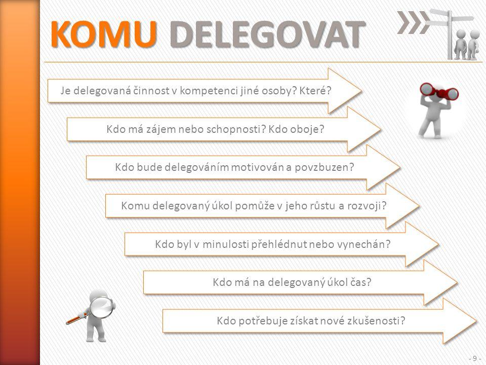 KOMU DELEGOVAT - 9 - Je delegovaná činnost v kompetenci jiné osoby.