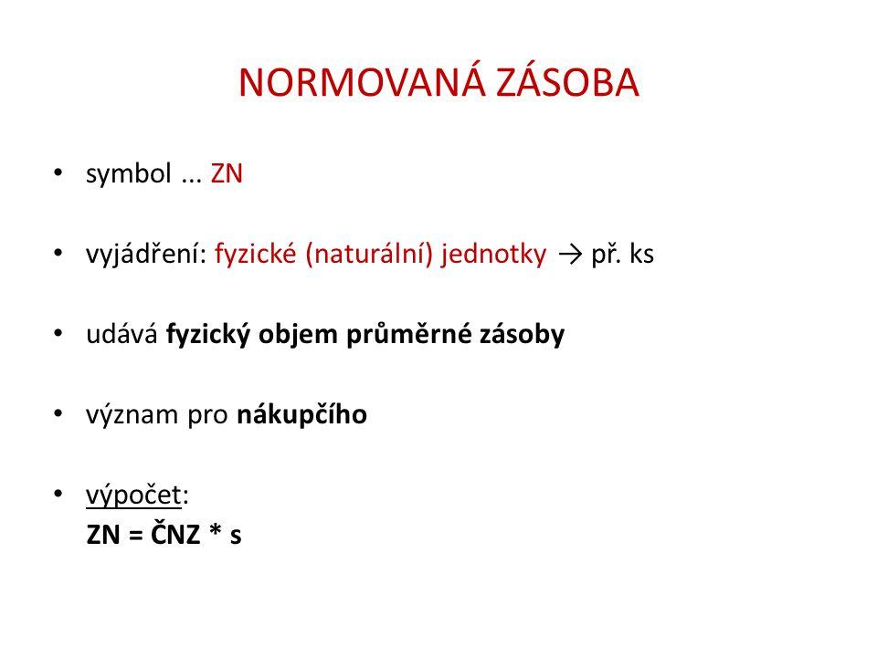 NORMATIV ZÁSOB symbol...N vyjádření: peněžní jednotky → př.