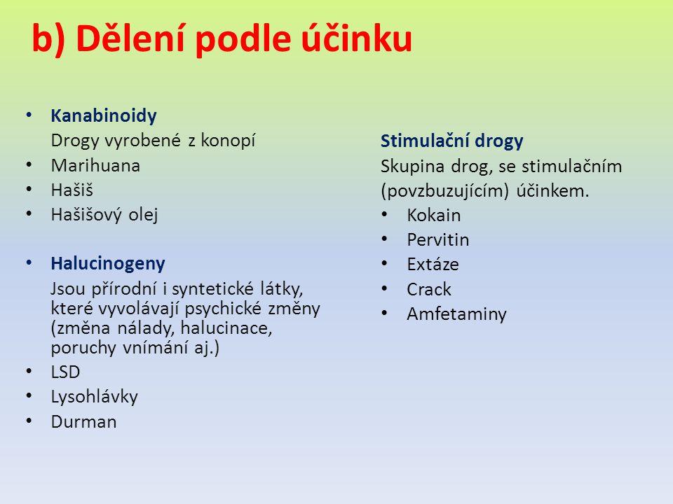 b) Dělení podle účinku Kanabinoidy Drogy vyrobené z konopí Marihuana Hašiš Hašišový olej Halucinogeny Jsou přírodní i syntetické látky, které vyvoláva