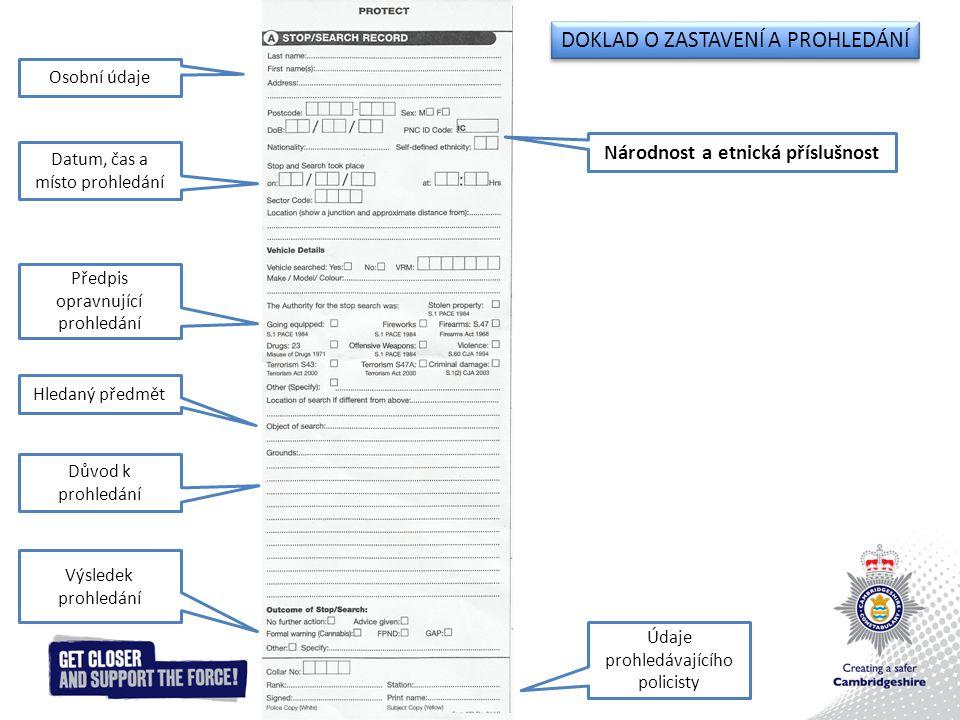 DOKLAD O ZASTAVENÍ A PROHLEDÁNÍ Osobní údaje Datum, čas a místo prohledání Národnost a etnická příslušnost Předpis opravnující prohledání Hledaný předmět Důvod k prohledání Výsledek prohledání Údaje prohledávajícího policisty