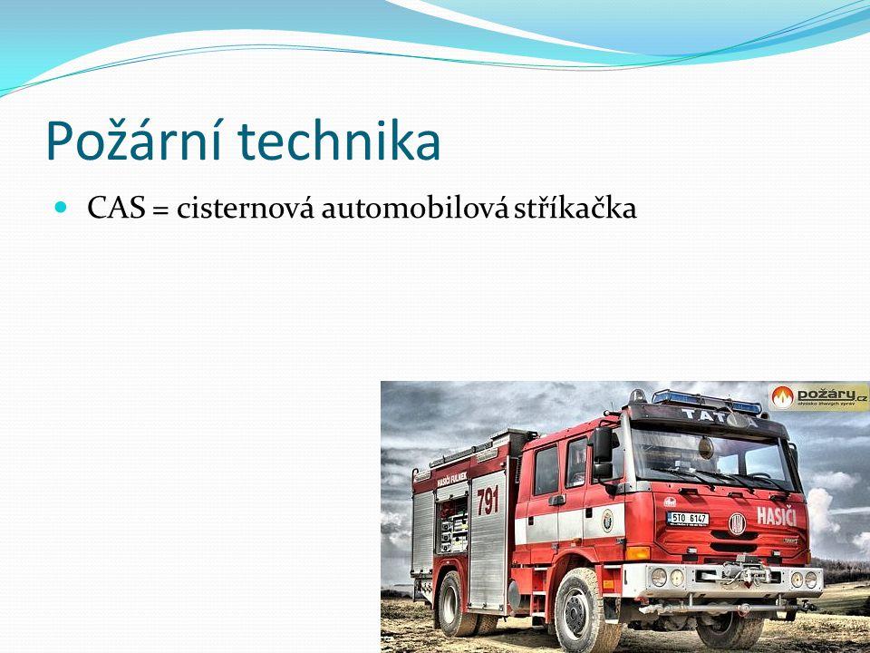 CAS 32/8200/800-S3R Druh zásahového automobilu: CAS – cisternová automobilová stříkačka DA – dopravní automobil AZ – automobilový žebřík AP – automobilová plošina TA – technický automobil RZA – rychlý zásahový automobil Výkonový parametr Hmotnostní třída L- lehké M- střední S - těžké Kategorie 1 – silniční 2- smíšené 3- terénní Provedení vozidla podle příslušenství Z- základní R – redukované T- technické H- k hašení LP – hašení lesů CH – chemické N- ropné