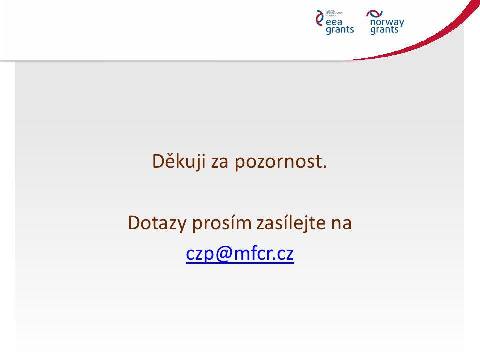Děkuji za pozornost. Dotazy prosím zasílejte na czp@mfcr.cz