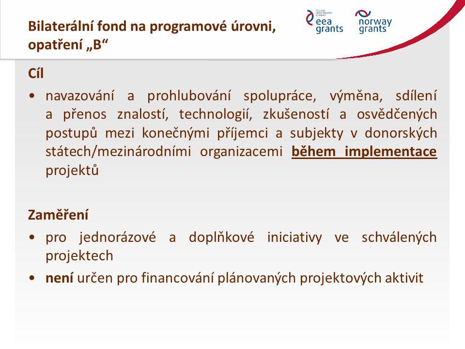 """Bilaterální fond na programové úrovni, opatření """"B Financování výše grantu v rozmezí 53 000 – 530 000 Kč proplácení ex-post v 100% výši skutečně vynaložených výdajů v Kč na základě předložené žádosti Administrace Zprostředkovatel programu (Ministerstvo financí) CEDR – informační systém k předkládání a administraci žádostí o grant prostřednictvím otevřené výzvy (web MF) – k dispozici Pokyn pro žadatele a příjemce"""