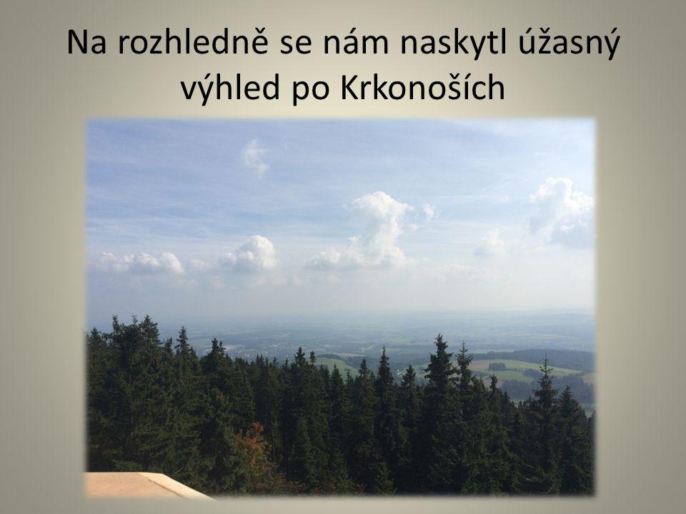 Na rozhledně se nám naskytl úžasný výhled po Krkonoších