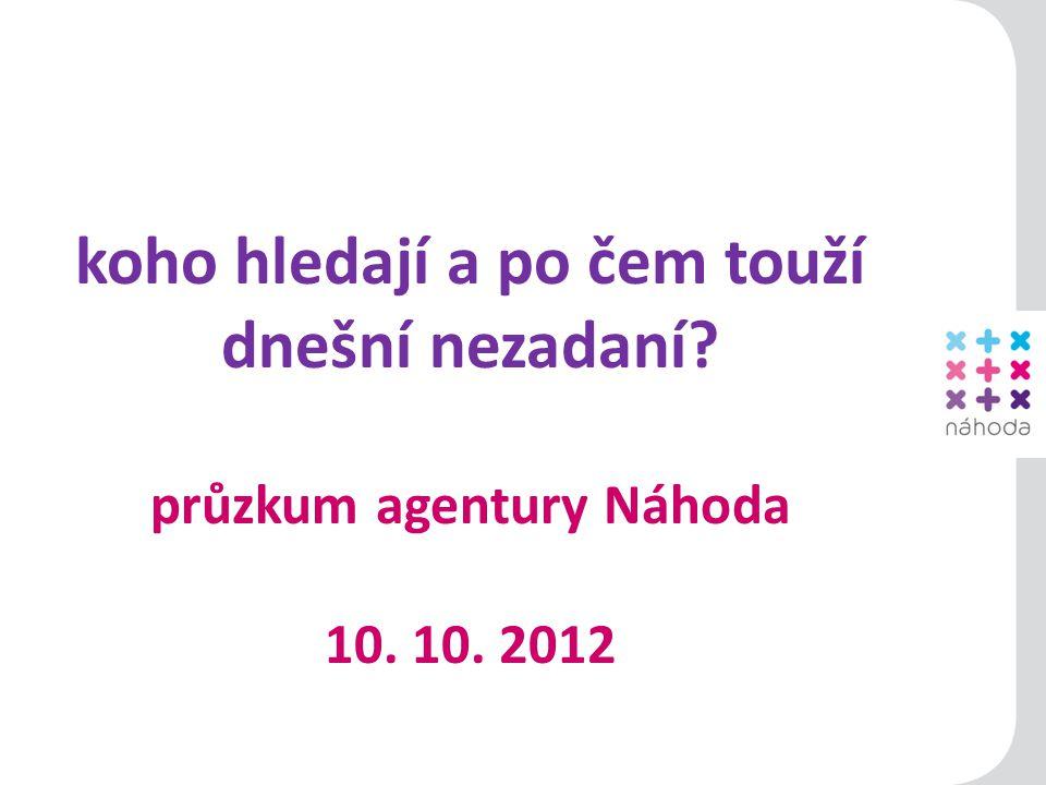 1 koho hledají a po čem touží dnešní nezadaní průzkum agentury Náhoda 10. 10. 2012