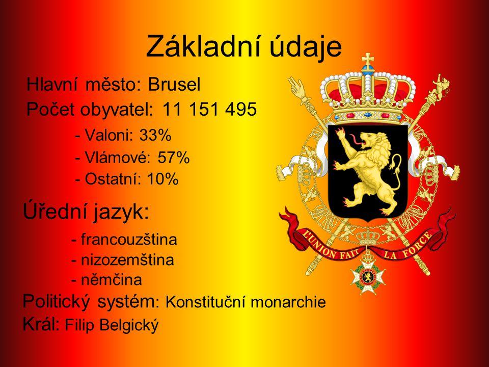 Základní údaje Hlavní město: Brusel Počet obyvatel: 11 151 495 - Valoni: 33% - Vlámové: 57% - Ostatní: 10% Úřední jazyk: - francouzština - nizozemštin