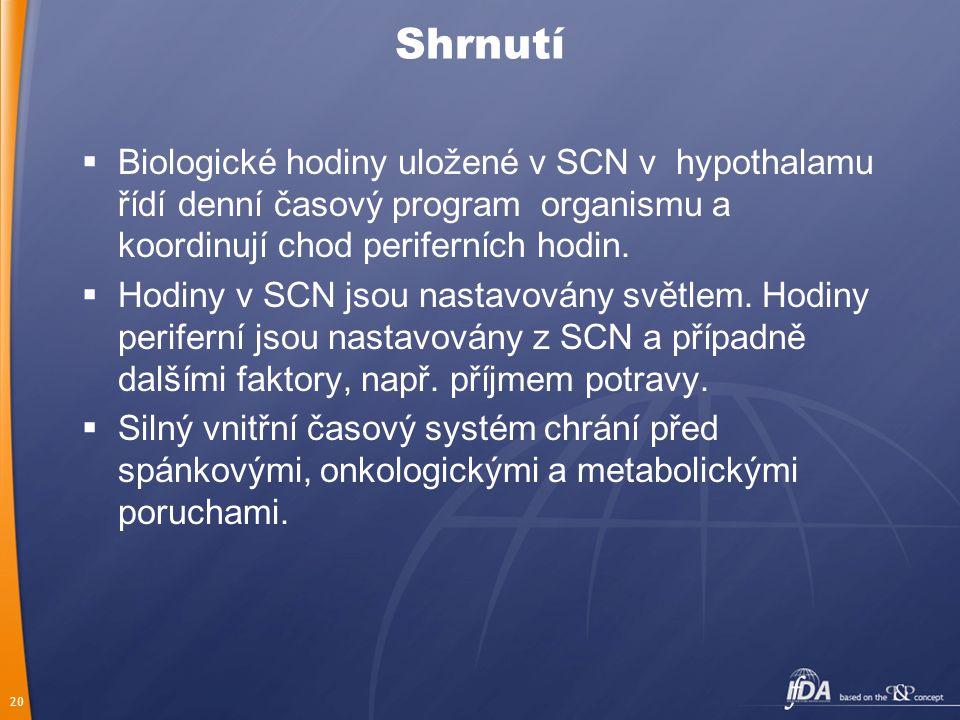 20 Shrnutí  Biologické hodiny uložené v SCN v hypothalamu řídí denní časový program organismu a koordinují chod periferních hodin.  Hodiny v SCN jso