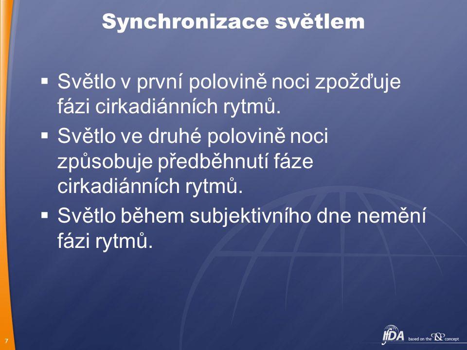 7 Synchronizace světlem  Světlo v první polovině noci zpožďuje fázi cirkadiánních rytmů.  Světlo ve druhé polovině noci způsobuje předběhnutí fáze c