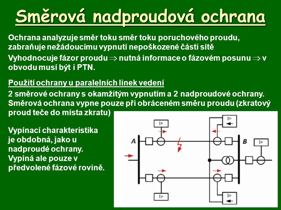 Směrová nadproudová ochrana Ochrana analyzuje směr toku směr toku poruchového proudu, zabraňuje nežádoucímu vypnutí nepoškozené části sítě Vyhodnocuje fázor proudu  nutná informace o fázovém posunu  v obvodu musí být i PTN.