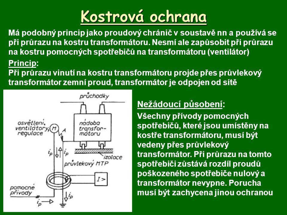 Kostrová ochrana Má podobný princip jako proudový chránič v soustavě nn a používá se při průrazu na kostru transformátoru.