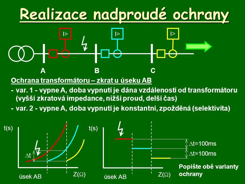 Realizace nadproudé ochrany Ochrana transformátoru – zkrat u úseku AB -var.