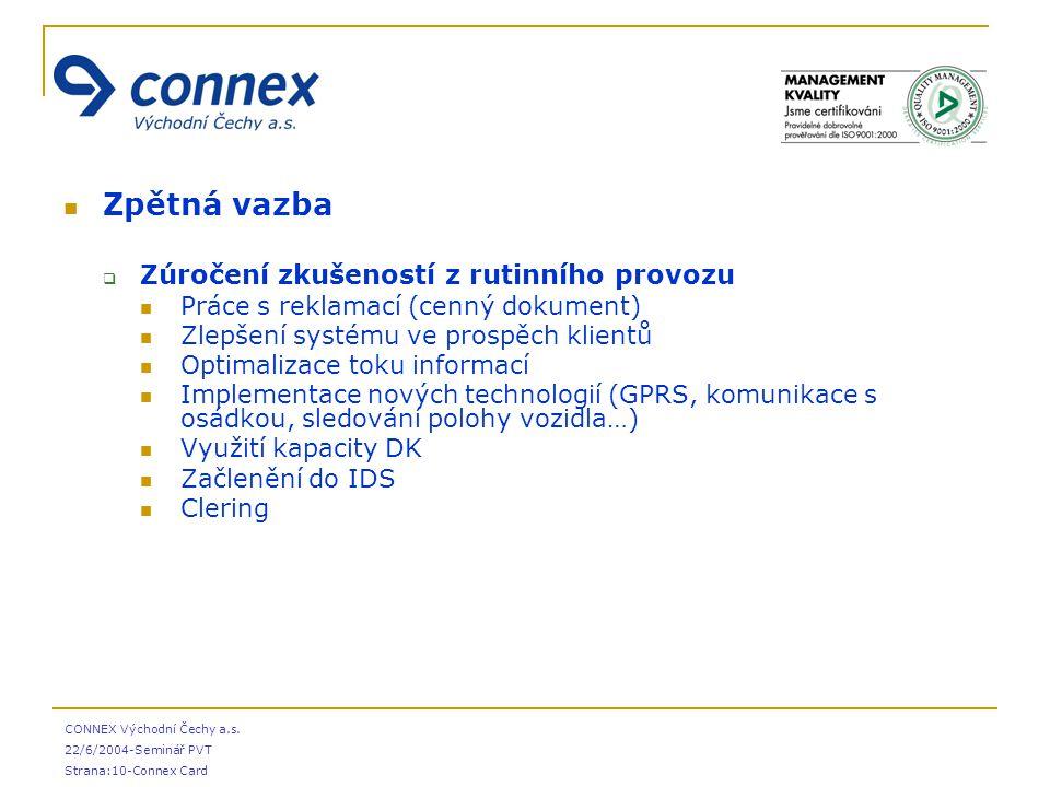 CONNEX Východní Čechy a.s. 22/6/2004-Seminář PVT Strana:10-Connex Card Zpětná vazba  Zúročení zkušeností z rutinního provozu Práce s reklamací (cenný