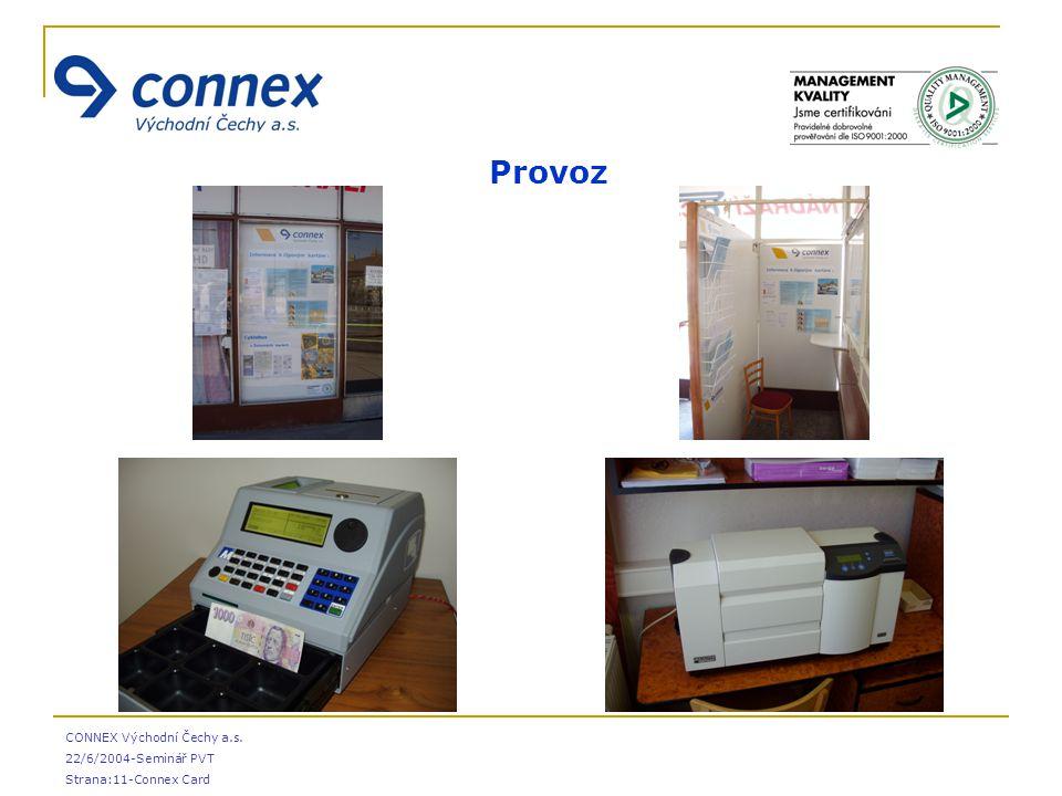 CONNEX Východní Čechy a.s. 22/6/2004-Seminář PVT Strana:11-Connex Card  Provoz