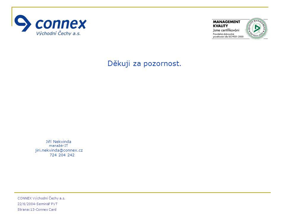 CONNEX Východní Čechy a.s. 22/6/2004-Seminář PVT Strana:13-Connex Card  Děkuji za pozornost.