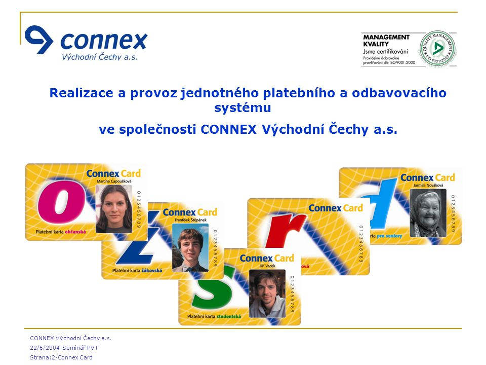 CONNEX Východní Čechy a.s. 22/6/2004-Seminář PVT Strana:2-Connex Card  Realizace a provoz jednotného platebního a odbavovacího systému  ve společnos