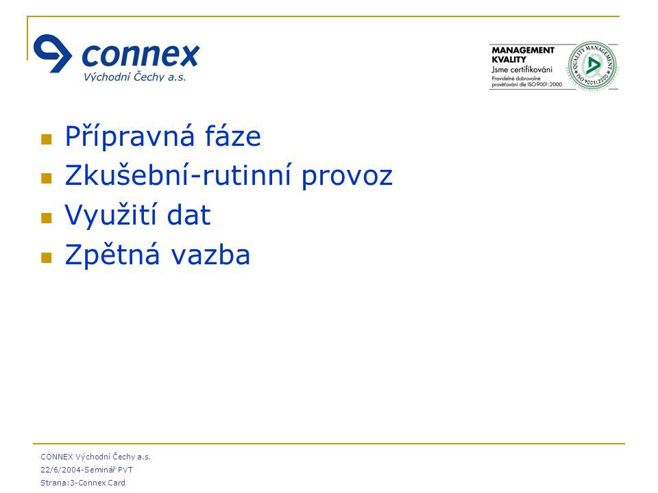 CONNEX Východní Čechy a.s. 22/6/2004-Seminář PVT Strana:3-Connex Card Přípravná fáze Zkušební-rutinní provoz Využití dat Zpětná vazba