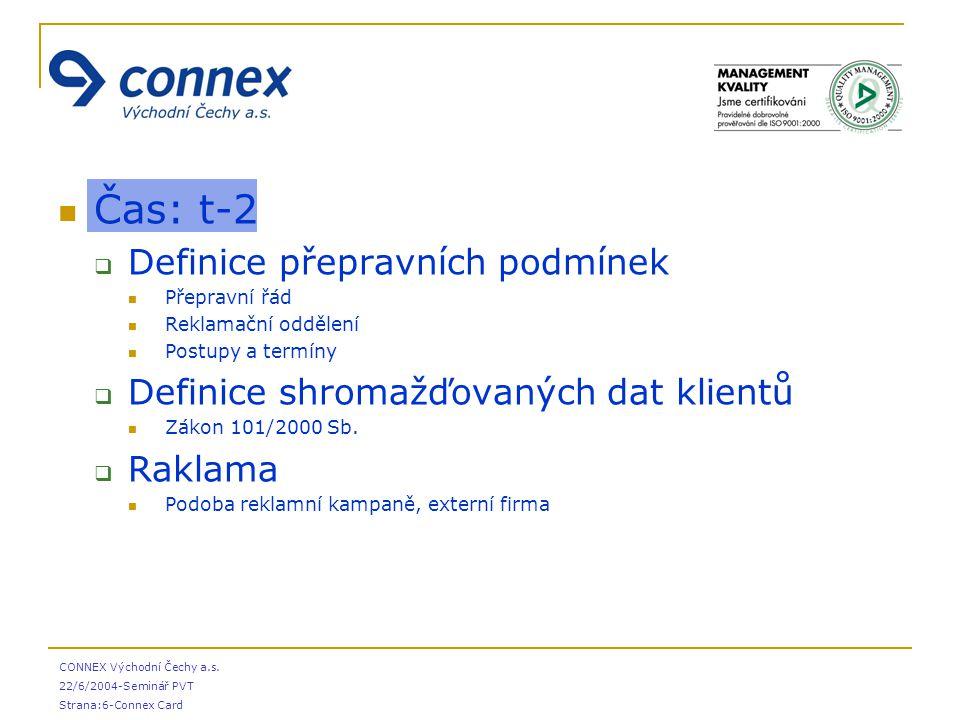 CONNEX Východní Čechy a.s. 22/6/2004-Seminář PVT Strana:6-Connex Card Čas: t-2  Definice přepravních podmínek Přepravní řád Reklamační oddělení Postu