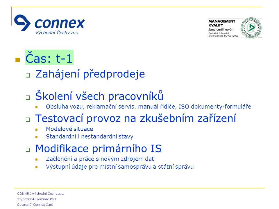 CONNEX Východní Čechy a.s. 22/6/2004-Seminář PVT Strana:7-Connex Card Čas: t-1  Zahájení předprodeje  Školení všech pracovníků Obsluha vozu, reklama
